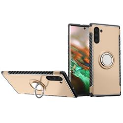 Armor Anti Drop Carbon PC + Silicon Invisible Ring Holder Phone Case for Samsung Galaxy Note 10 (6.28 inch) / Note10 5G - Champagne