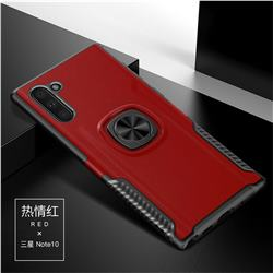 Knight Armor Anti Drop PC + Silicone Invisible Ring Holder Phone Cover for Samsung Galaxy Note 10 (6.28 inch) / Note10 5G - Red
