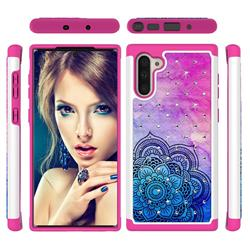 Colored Mandala Studded Rhinestone Bling Diamond Shock Absorbing Hybrid Defender Rugged Phone Case Cover for Samsung Galaxy Note 10 (6.28 inch) / Note10 5G