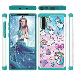 Fashion Unicorn Studded Rhinestone Bling Diamond Shock Absorbing Hybrid Defender Rugged Phone Case Cover for Samsung Galaxy Note 10 (6.28 inch) / Note10 5G
