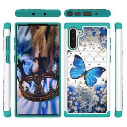 Flower Butterfly Studded Rhinestone Bling Diamond Shock Absorbing Hybrid Defender Rugged Phone Case Cover for Samsung Galaxy Note 10 (6.28 inch) / Note10 5G