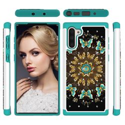 Golden Butterflies Studded Rhinestone Bling Diamond Shock Absorbing Hybrid Defender Rugged Phone Case Cover for Samsung Galaxy Note 10 (6.28 inch) / Note10 5G