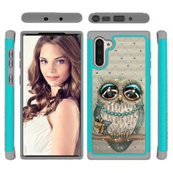 Sweet Gray Owl Studded Rhinestone Bling Diamond Shock Absorbing Hybrid Defender Rugged Phone Case Cover for Samsung Galaxy Note 10 (6.28 inch) / Note10 5G