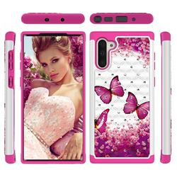 Rose Butterfly Studded Rhinestone Bling Diamond Shock Absorbing Hybrid Defender Rugged Phone Case Cover for Samsung Galaxy Note 10 (6.28 inch) / Note10 5G