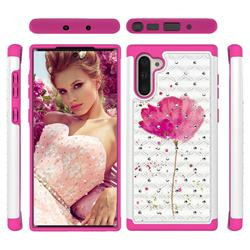 Watercolor Studded Rhinestone Bling Diamond Shock Absorbing Hybrid Defender Rugged Phone Case Cover for Samsung Galaxy Note 10 (6.28 inch) / Note10 5G