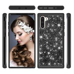 Glitter Rhinestone Bling Shock Absorbing Hybrid Defender Rugged Phone Case Cover for Samsung Galaxy Note 10 (6.28 inch) / Note10 5G - Black