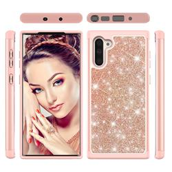 Glitter Rhinestone Bling Shock Absorbing Hybrid Defender Rugged Phone Case Cover for Samsung Galaxy Note 10 (6.28 inch) / Note10 5G - Rose Gold