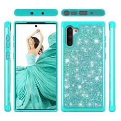 Glitter Rhinestone Bling Shock Absorbing Hybrid Defender Rugged Phone Case Cover for Samsung Galaxy Note 10 (6.28 inch) / Note10 5G - Green