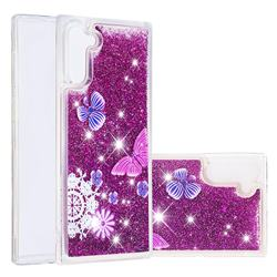 Purple Flower Butterfly Dynamic Liquid Glitter Quicksand Soft TPU Case for Samsung Galaxy Note 10 (6.28 inch) / Note10 5G