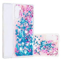 Blue Plum Blossom Dynamic Liquid Glitter Quicksand Soft TPU Case for Samsung Galaxy Note 10 (6.28 inch) / Note10 5G