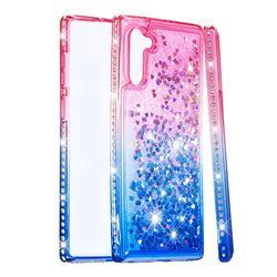 Diamond Frame Liquid Glitter Quicksand Sequins Phone Case for Samsung Galaxy Note 10 (6.28 inch) / Note10 5G - Pink Blue