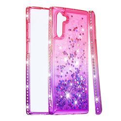 Diamond Frame Liquid Glitter Quicksand Sequins Phone Case for Samsung Galaxy Note 10 (6.28 inch) / Note10 5G - Pink Purple