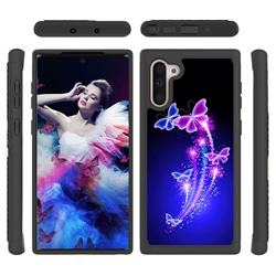 Dancing Butterflies Shock Absorbing Hybrid Defender Rugged Phone Case Cover for Samsung Galaxy Note 10 (6.28 inch) / Note10 5G