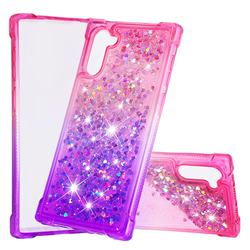 Rainbow Gradient Liquid Glitter Quicksand Sequins Phone Case for Samsung Galaxy Note 10 (6.28 inch) / Note10 5G - Pink Purple