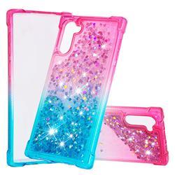 Rainbow Gradient Liquid Glitter Quicksand Sequins Phone Case for Samsung Galaxy Note 10 (6.28 inch) / Note10 5G - Pink Blue
