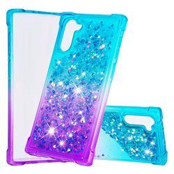 Rainbow Gradient Liquid Glitter Quicksand Sequins Phone Case for Samsung Galaxy Note 10 (6.28 inch) / Note10 5G - Blue Purple