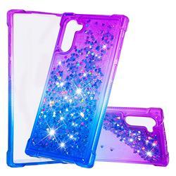 Rainbow Gradient Liquid Glitter Quicksand Sequins Phone Case for Samsung Galaxy Note 10 (6.28 inch) / Note10 5G - Purple Blue