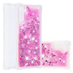 Dynamic Liquid Glitter Sand Quicksand TPU Case for Samsung Galaxy Note 10 (6.28 inch) / Note10 5G - Pink Love Heart