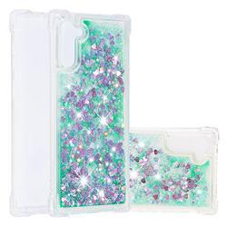 Dynamic Liquid Glitter Sand Quicksand TPU Case for Samsung Galaxy Note 10 (6.28 inch) / Note10 5G - Green Love Heart