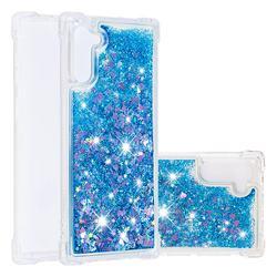 Dynamic Liquid Glitter Sand Quicksand TPU Case for Samsung Galaxy Note 10 (6.28 inch) / Note10 5G - Blue Love Heart
