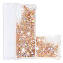 Dynamic Liquid Glitter Sand Quicksand Star TPU Case for Samsung Galaxy Note 10 (6.28 inch) / Note10 5G - Diamond Gold