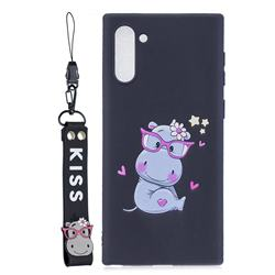 Black Flower Hippo Soft Kiss Candy Hand Strap Silicone Case for Samsung Galaxy Note 10 (6.28 inch) / Note10 5G