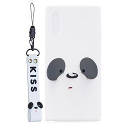 White Feather Panda Soft Kiss Candy Hand Strap Silicone Case for Samsung Galaxy Note 10 (6.28 inch) / Note10 5G