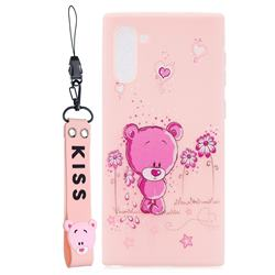 Pink Flower Bear Soft Kiss Candy Hand Strap Silicone Case for Samsung Galaxy Note 10 (6.28 inch)