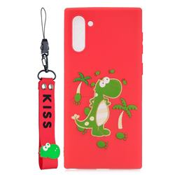 Red Dinosaur Soft Kiss Candy Hand Strap Silicone Case for Samsung Galaxy Note 10 (6.28 inch) / Note10 5G