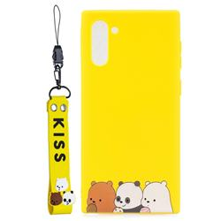 Yellow Bear Family Soft Kiss Candy Hand Strap Silicone Case for Samsung Galaxy Note 10 (6.28 inch) / Note10 5G