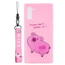 Pink Cute Pig Soft Kiss Candy Hand Strap Silicone Case for Samsung Galaxy Note 10 (6.28 inch) / Note10 5G