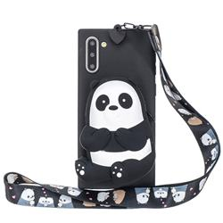 Cute Panda Neck Lanyard Zipper Wallet Silicone Case for Samsung Galaxy Note 10 (6.28 inch) / Note10 5G