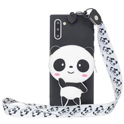 White Panda Neck Lanyard Zipper Wallet Silicone Case for Samsung Galaxy Note 10 (6.28 inch) / Note10 5G