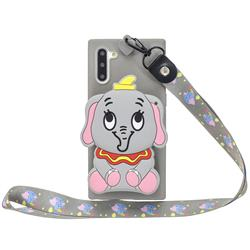 Gray Elephant Neck Lanyard Zipper Wallet Silicone Case for Samsung Galaxy Note 10 (6.28 inch) / Note10 5G