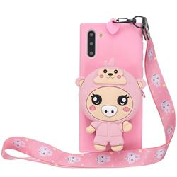 Pink Pig Neck Lanyard Zipper Wallet Silicone Case for Samsung Galaxy Note 10 (6.28 inch) / Note10 5G
