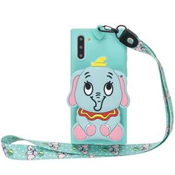 Blue Elephant Neck Lanyard Zipper Wallet Silicone Case for Samsung Galaxy Note 10 (6.28 inch) / Note10 5G