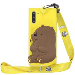 Yellow Bear Neck Lanyard Zipper Wallet Silicone Case for Samsung Galaxy Note 10 (6.28 inch) / Note10 5G
