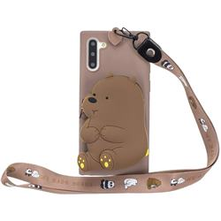 Brown Bear Neck Lanyard Zipper Wallet Silicone Case for Samsung Galaxy Note 10 (6.28 inch) / Note10 5G