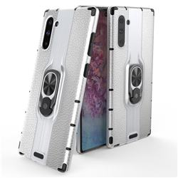 Alita Battle Angel Armor Metal Ring Grip Shockproof Dual Layer Rugged Hard Cover for Samsung Galaxy Note 10 (6.28 inch) / Note10 5G - Silver