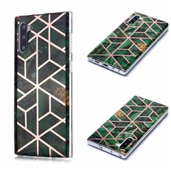 Green Rhombus Galvanized Rose Gold Marble Phone Back Cover for Samsung Galaxy Note 10 (6.28 inch) / Note10 5G