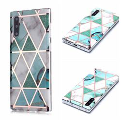 Green White Galvanized Rose Gold Marble Phone Back Cover for Samsung Galaxy Note 10 (6.28 inch) / Note10 5G