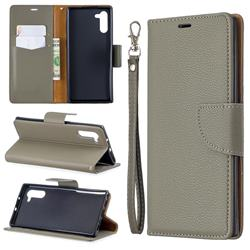 Classic Luxury Litchi Leather Phone Wallet Case for Samsung Galaxy Note 10 (6.28 inch) / Note10 5G - Gray