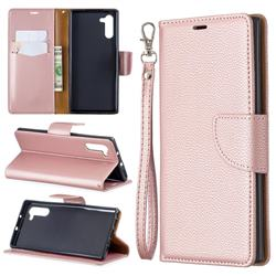 Classic Luxury Litchi Leather Phone Wallet Case for Samsung Galaxy Note 10 (6.28 inch) / Note10 5G - Golden