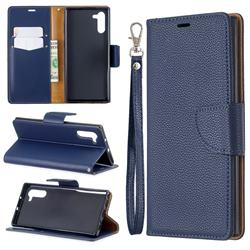 Classic Luxury Litchi Leather Phone Wallet Case for Samsung Galaxy Note 10 (6.28 inch) / Note10 5G - Blue