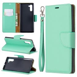 Classic Luxury Litchi Leather Phone Wallet Case for Samsung Galaxy Note 10 (6.28 inch) / Note10 5G - Green