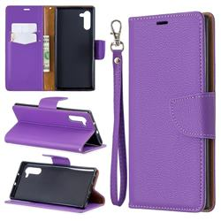 Classic Luxury Litchi Leather Phone Wallet Case for Samsung Galaxy Note 10 (6.28 inch) / Note10 5G - Purple