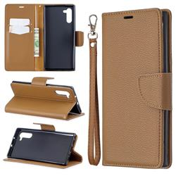 Classic Luxury Litchi Leather Phone Wallet Case for Samsung Galaxy Note 10 (6.28 inch) / Note10 5G - Brown