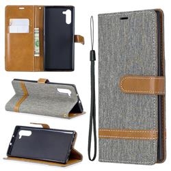 Jeans Cowboy Denim Leather Wallet Case for Samsung Galaxy Note 10 (6.28 inch) - Gray