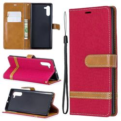 Jeans Cowboy Denim Leather Wallet Case for Samsung Galaxy Note 10 (6.28 inch) - Red