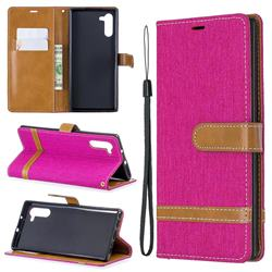 Jeans Cowboy Denim Leather Wallet Case for Samsung Galaxy Note 10 (6.28 inch) / Note10 5G - Rose